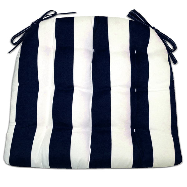 Sea Shore Stripe Navy Blue Indoor / Outdoor Dining Chair Pads & Patio Cushions