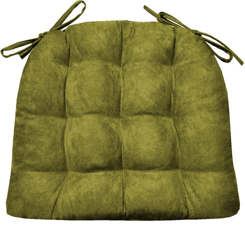 Micro Suede Laurel Green Soild Dining Chair Cushion | Barnett Home Decor