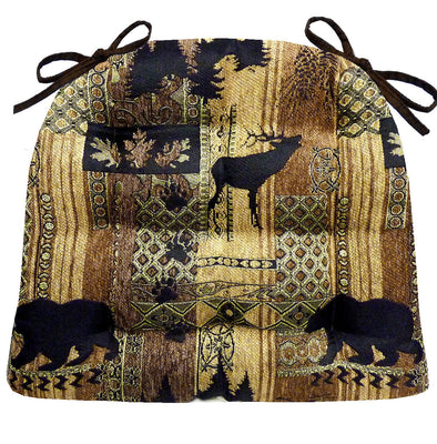 Woodlands Brentwood Dining Chair Cushions - Barnett Home Decor - Bronze, Beige, & Gold Animals - Nature - Wildlife - Bears - Moose - Deer - Rustic - Hunting - Fishing - Cabin