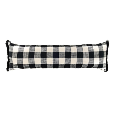 Buffalo Check Black and White Decorative Lumbar Pillow - 12 x 24 or 12 x 40 Rectangle Bolster