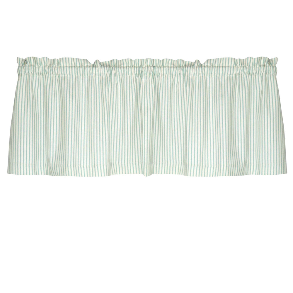 Berlin Aqua Ticking Cafe Valance - Straight Tailored Window Treatment