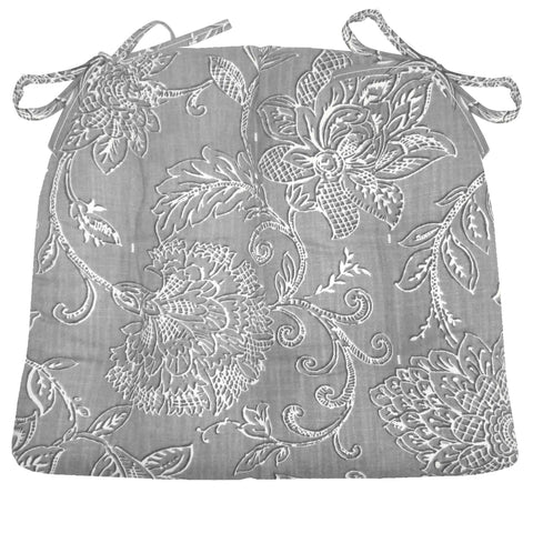 benson grey floral dining chair pad latex foam fill - Chair Pads