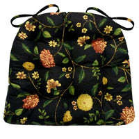 Nassau Vine Onyx Black Dining Chair Cushion - Barnett Home Decor - Black, Red, & Yellow - Floral