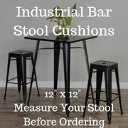 Ticking Stripe Natural Square Industrial Bar Stool Cushion - 12""