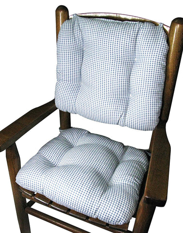 Madrid Check Lake Blue Child Rocking Chair Cushions - Latex Foam Fill, Reversible, Machine Washable