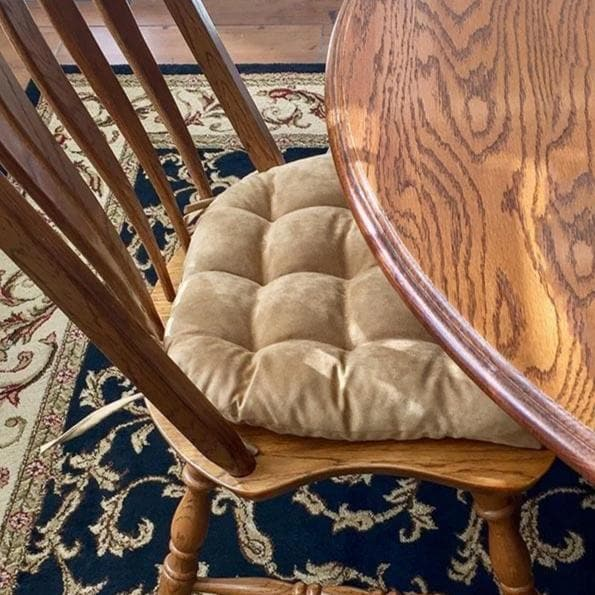 Micro Suede Camel Dining Chair Pads Latex Foam Fill