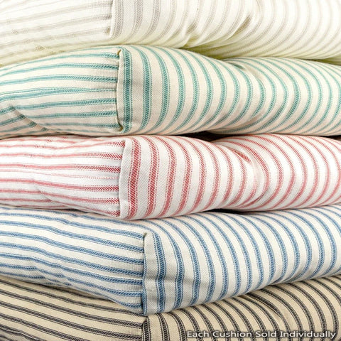 Assorted Colors of Ticking Stripe Chair Cushions - Barnett Home Decor