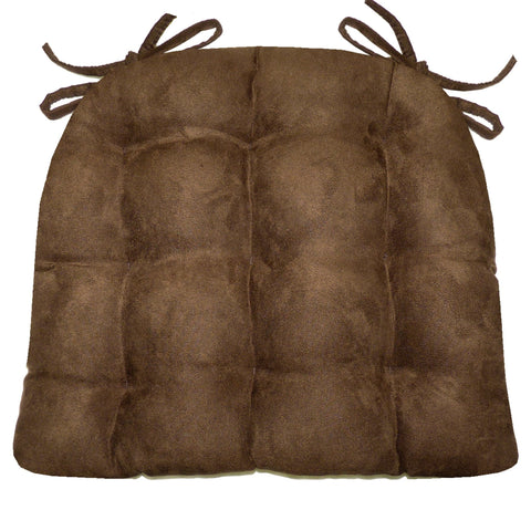 Micro-Suede Coffee Bean Brown Dining Chair Cushions - Barnett Home Decor - Coffee Brown