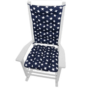 Stars Navy Blue Porch Rocker Cushions - Latex Foam Fill - Fade Resistant