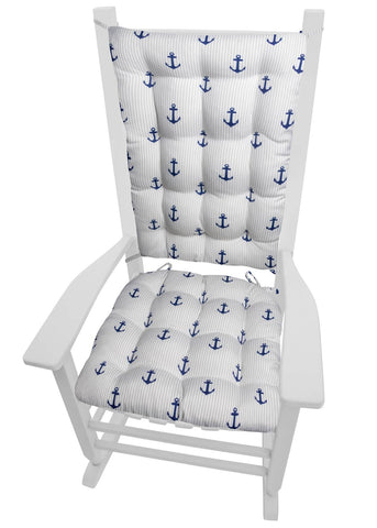 Anchors Stripe Porch Rocker Cushions - Latex Foam Fill