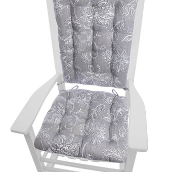 Benson Grey Floral Rocking Chair Cushions Latex Foam Fill