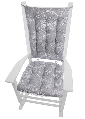 Benson Grey Rocking Chair Cushions - Barnett Home Decor - Gray & White