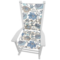 Boutique Blue Floral Rocking Chair Cushions - Barnett Home Decor - Blue, Gray, White