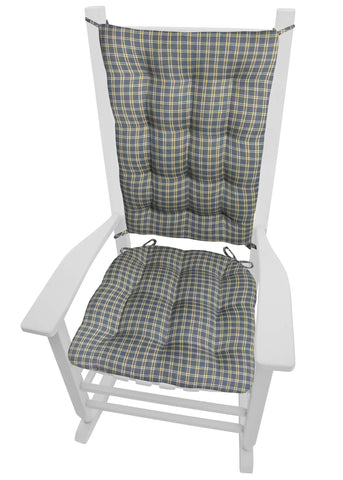 Britt Blue Plaid Rocking Chair Cushions - Barnett Home Decor - Blue & Tan