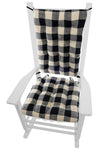 Buffalo Check Rocking Chair Cushion Set - Latex Foam Fill - Reversible