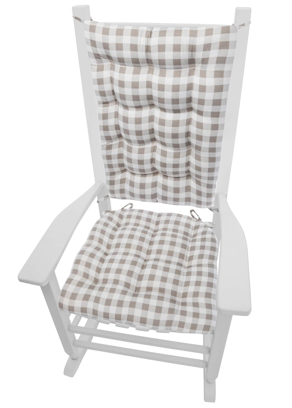 Classic Check Taupe Plaid Rocking Chair Cushions ...