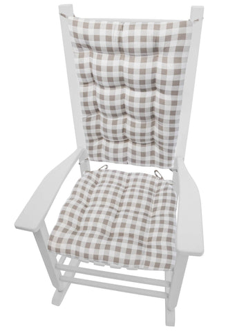 Classic Check Taupe Rocking Chair Cushions | Barnett Home Decor | Taupe