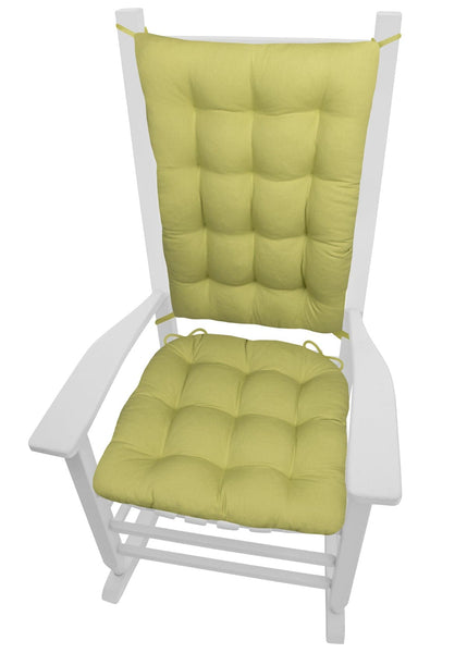 Cotton Duck Pear Green Rocker Cushions - Latex Foam Fill - Reversible