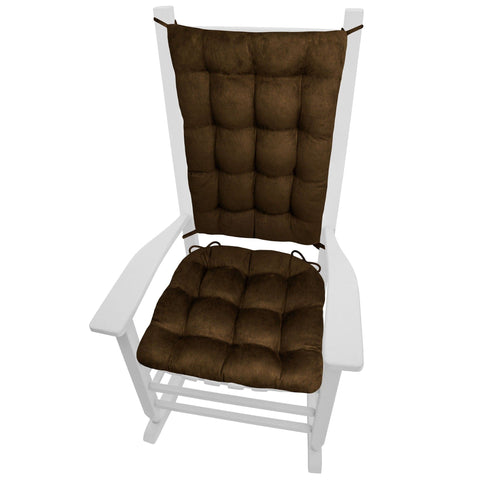 Micro-Suede Coffee Bean Brown Rocking Chair Cushions - Barnett Home Decor - Coffee Brown