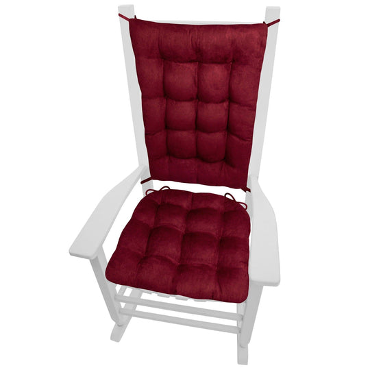 Micro-Suede Claret Red Rocking Chair Cushions - Barnett Home Decor - Wine Red