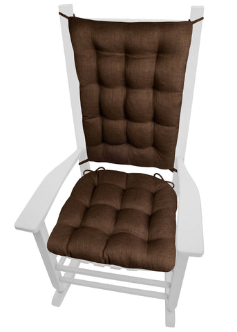 Rave Chocolate Brown Indoor/Outdoor Rocking Chair Cushions - Barnett Home Decor -  Brown