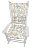 Santa Fe Cactus Rocking Chair Cushions - Barnett Home Decor - Cactus Green & Salmon Pink