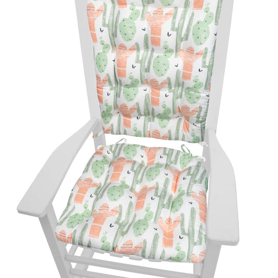 Santa Fe Cactus Rocking Chair Cushions - Latex Foam Fill, Reversible, Machine Washable