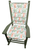 Santa Fe Cactus Rocking Chair Pads | Barnett Home Decor | Cactus Green & Salmon Pink