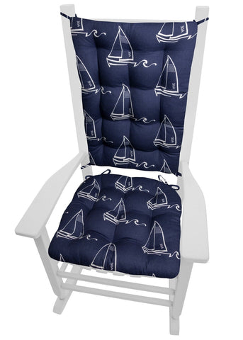 Seaton Sailboats Rocking Chair Cushions - Barnett Home Decor - Navy Blue & White