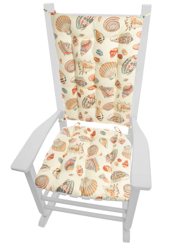 Shells at Low Tide Rocking Chair Cushions - Latex Foam