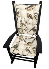 Song Bird Black Rocking Chair Pads - Barnett Home Decor - Taupe, Black, Grey