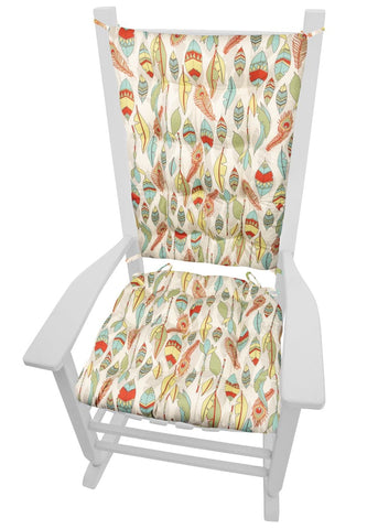Southwest Cheyenne Rocking Chair Cushions - Barnett Home Decor - Red, Teal, & Yellow