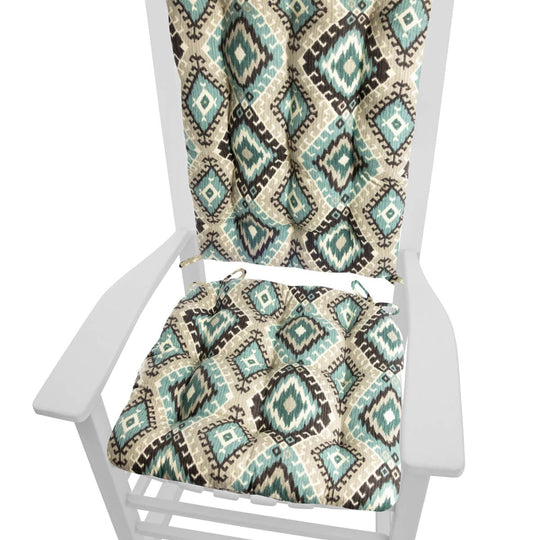 Southwest Moonstruck Rocking Chair Cushions - Barnett Home Decor - Turquoise, Grey, & Black