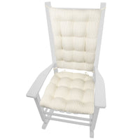 Ticking Stripe Natural Rocking Chair Cushions - Barnett Home Decor - Tan & White