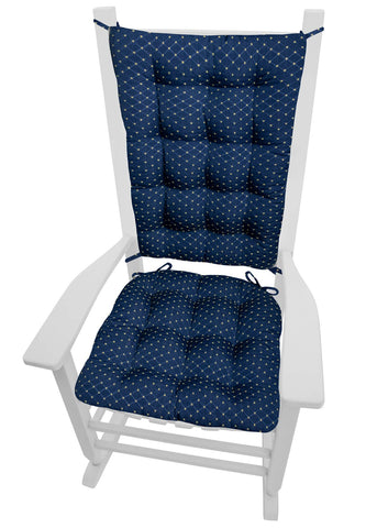Tiffany Navy Blue Brocade Rocking Chair Cushions - Barnett Home Decor - Blue