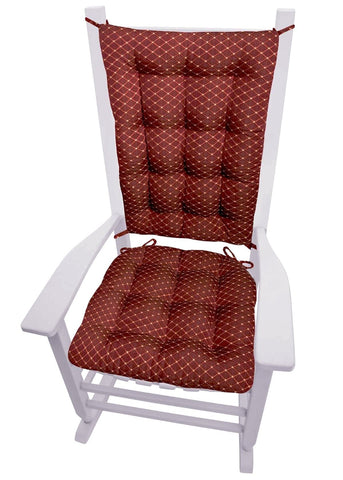 Tiffany Wine Red Brocade Rocking Chair Cushions | Barnett Home Decor | Red