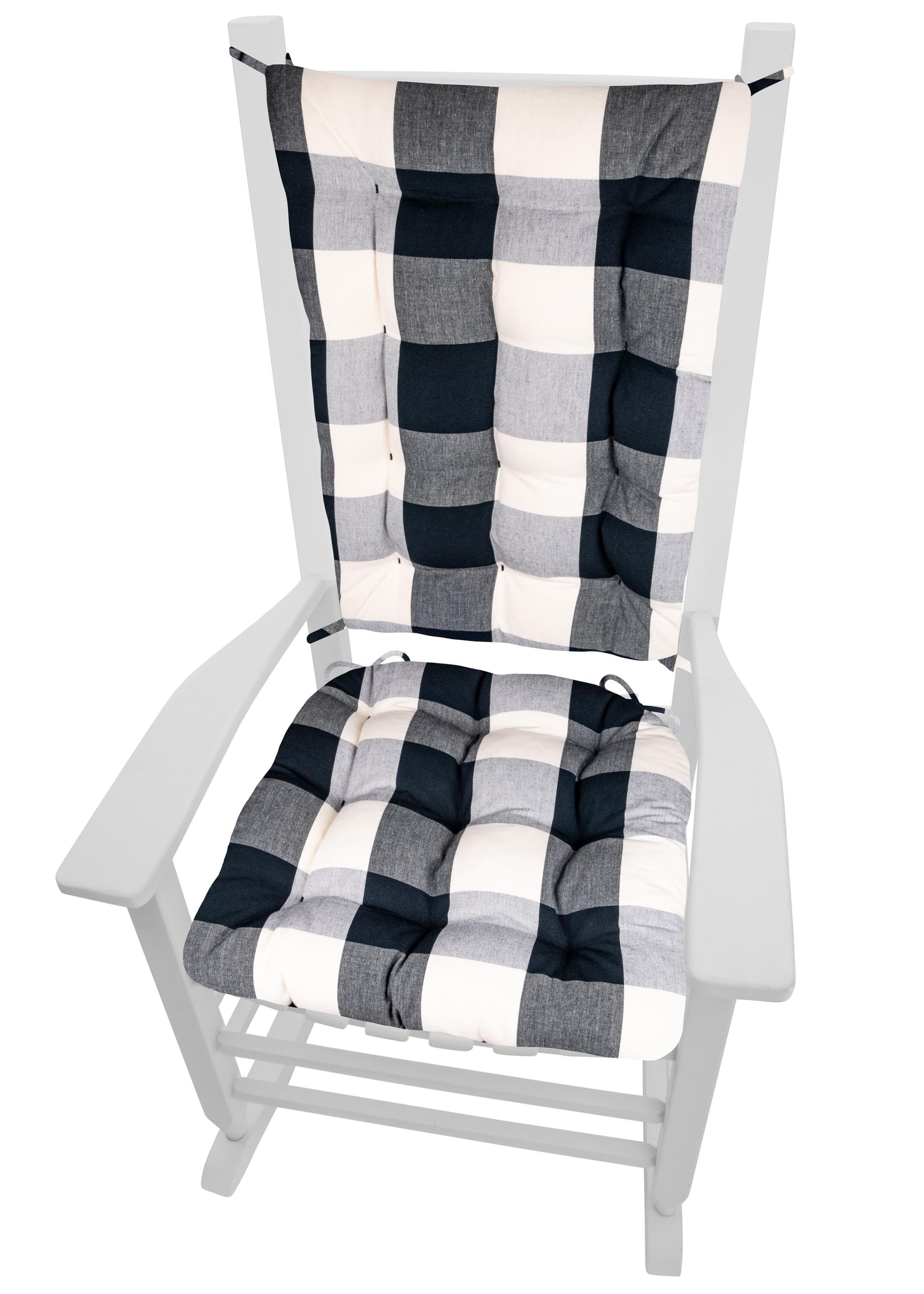 Vignette Buffalo Check Black Rocking Chair Cushions - Barnett Home Decor - Black & White