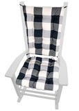 Vignette Buffalo Check Black Rocking Chair Cushions - Latex Foam Fill
