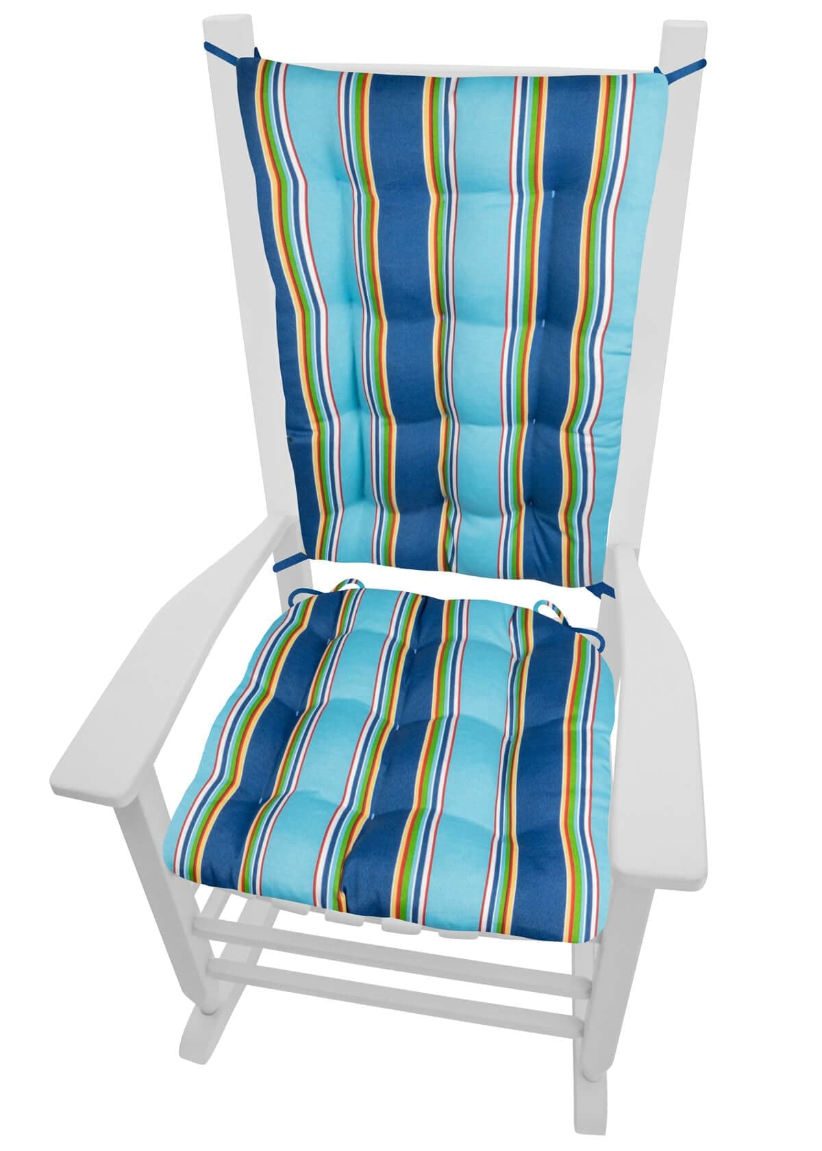 Westport Cobalt Stripe Indoor/Outdoor Rocking Chair Cushions - Barnett Home Decor - Blue