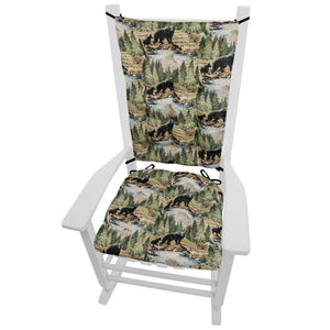 Wilderness Black Bears Rocking Chair Cushions  - Latex Foam