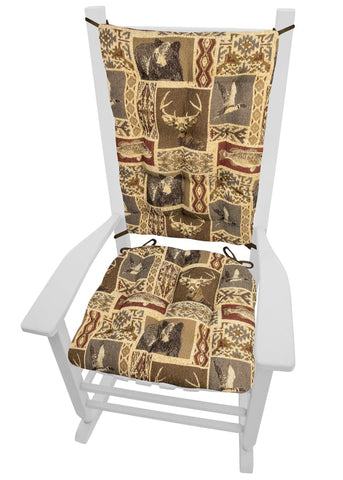 Wilderness Mountain View Rocking Chair Cushions - Barnett Home Decor - Brown, Red, & Beige