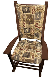 Wilderness Mountain View Rocking Chair Pads - Barnett Home Decor - Brown, Red, & Beige