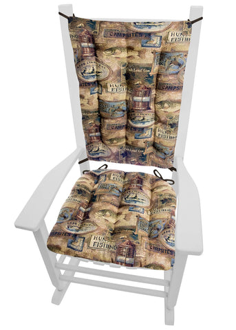 Woodlands Fish Camp Rocking Chair Cushions - Latex Foam Fill - Rustic Lodge