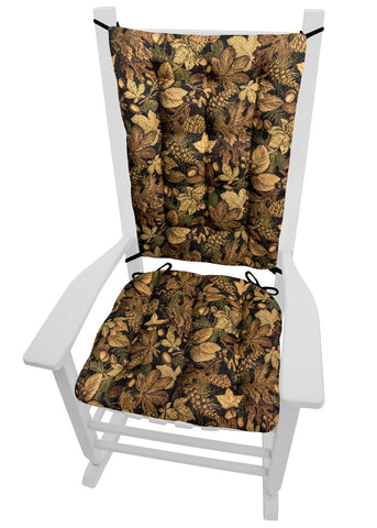 Woodlands Forest Floor Rocking Chair Cushions - Barnett Home Decor - Brown, Green, & Black