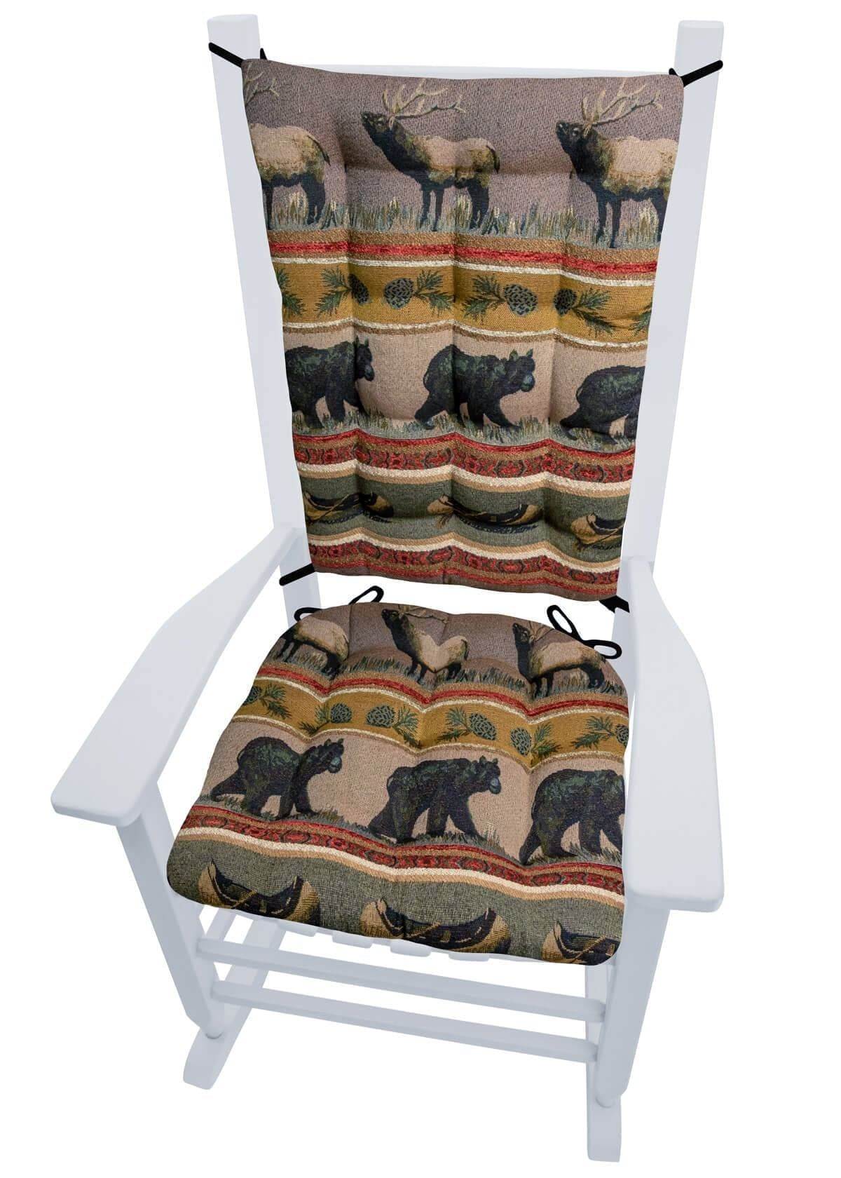 woodlands northwoods rocking chair cushion set bear barnett home