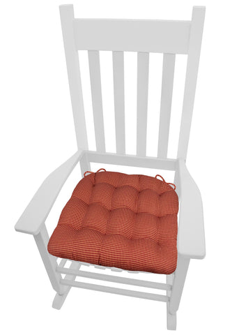 Capri Red Window Pane Plaid Rocking Chair Cushions - Latex Foam Fill - XL or XXL