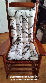 Song Bird Black Rocking Chair Cushion | Barnett Home Decor | Black, Taupe, & Gray