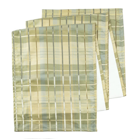 "Silk Plaid Aqua 72"" Table Runner - Rectangle - Hemmed"