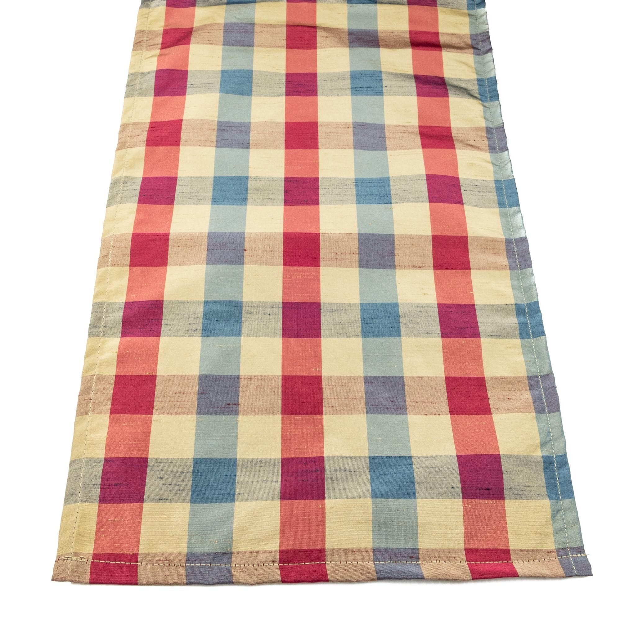 "Silky Plaid Winterberry 72"" Table Runner - Red, White, and Blue"