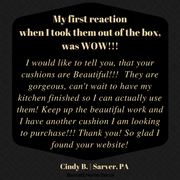 Tiffany Black Brocade Dining Chair Pads Customer Testimonial